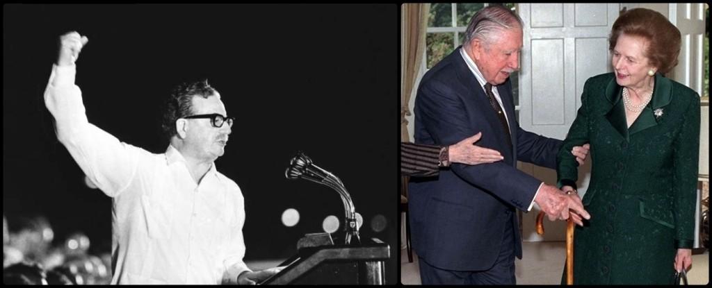 Der Sozialist und demokratisch gewählte Präsident Chiles Salvador Allende (l.) wurde 1973 von der CIA weggeputscht und durch den Sadisten General Augusto Pinochet (r.) ersetzt. Hier mit seiner Freundin und politischen Unterstützerin Maggie Thatcher.