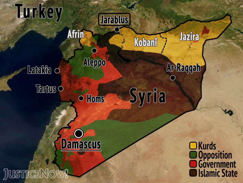 Die Territorien in Syrien vor dem Einmarsch der Türkei. Die Jarablus-Region im Norden liegt zwischen den kurdisch kontrollierten Kantonen im Norden Syriens und ist daher von äußerster strategischer Bedeutung. By Jakob Reimann, licensed under CC BY-ND 2.0.
