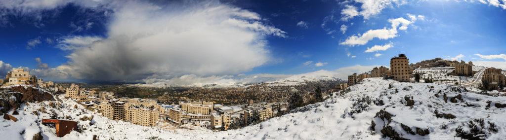 Schneepanorama auf Nablus im Westjordanland, Palästina, freundlicherweise zur Verfügung gestellt von Philipp Blank, Blankerman.